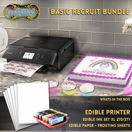 Edible Printer Bundle - Includes XL Edible Ink Cartridges and Frosting Sheets - Basic Recruit Packag