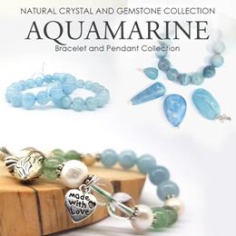 Aquamarine bracelet and pendants. Genuine blue quartz gemstone