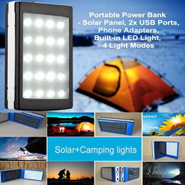 New Solar Charger Power Bank With Camping LED lights Outdoor Flashlight