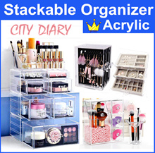 ~Promo $2 today~Acrylic Stackable cosmetic organizer jewelry earring brush holder Makeup box storage