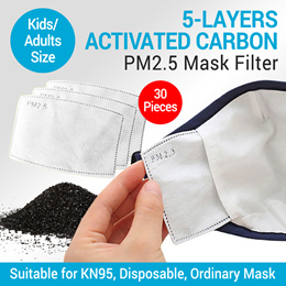 30pcs For Kids/Adult 5-layer activated carbon mask filter paper Reusable Protectiv PM2.5 Masks