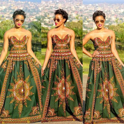 Qoo10 Women Sexy African Print Ball Gown Dress High Waist Dashiki