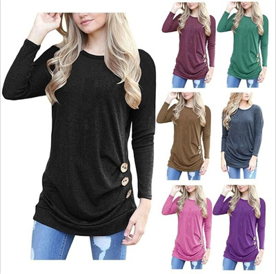 Women Casual Long Sleeve Buttons Decor Crew Neck Tunic shirts loose Blouse Tops