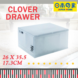 【Japan Home】Clover Drawer A4 Size | 3 Large Compartment w Mid Divider | W 26 x D 35.5 x H17.3cm