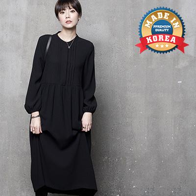 7311d06655718 HALUMAYBE[HALUMAYBE][FREE SHIPPING]A573 Hidden Button Shirring Long Dress