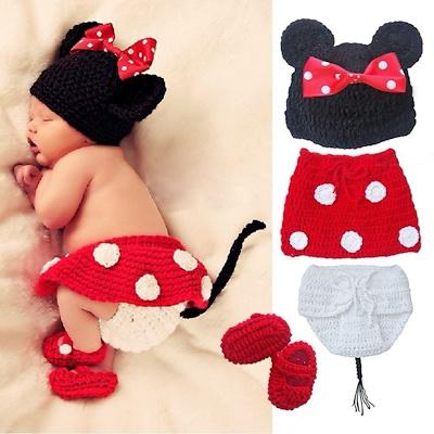 Qoo10 Crochet Newborn Baby Costume Infant Knit Minnie Mouse