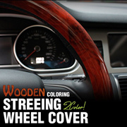Car Steering Wheel Cover Premium Wood Syn Wood Grain 2Color 1ea for All Vehical