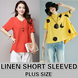 Linen blouse / Casual Short Sleeved / Round Neck T-shirt / Comfort / Leisure / Ventilation