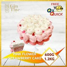 ♥ Pink Flower Cake 600G / 1.2KG ♥ Strawberry Flavor Sponge Cake