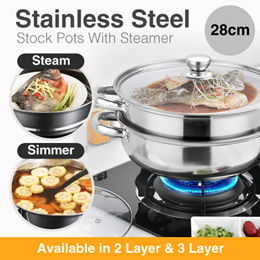28CM Two-layer Soup Stock Pots With Steamer Stainless Steel Three-layer Multi-purpose Multi-function