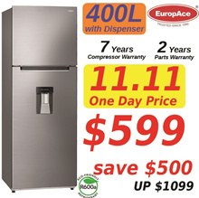 *11.11 Special (SAVE $500) * EUROPACE 400L 2 DOOR TOP MOUNT FRIDGE w DISPENSER - ER 3372T