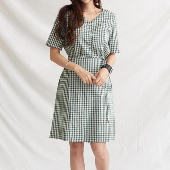インディーズのエイメンズジァンジァンチェックラップワンピースOP683 綿ワンピース/ 韓国ファッション