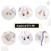 💕 SUPER DEAL💕 4 pairs Korean style earrings at $11.90 with Free Mail 💕ADD. 10% when buy 2