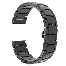TRUMiRR 22mm Quick Release Full Ceramic Smart Watch Band Steel Butterfly Buckle Strap for Samsung Ge