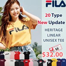 [FILA] ♥Use Cartt Coupon $8♥2019 New Update♥ 21Type Unisex Linear Logo Short Sleeve Basic T Shirt / 100% Authentic