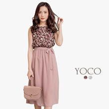 YOCO - Floral Printed Ribbon Dress-180085