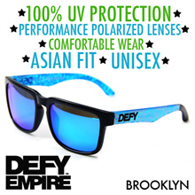 ★100% UV PROTECTION★ DEFY EMPIRE BROOKLYN MATTE BLACK/ICE BLUE SUNGLASSES ★POLARIZED★ ★UNISEX★