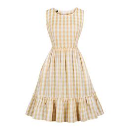 Round Collar Grid Collect Waist Pocket Sweet Women Dress