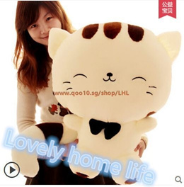 Cute kitty doll big tail big cat face pillow plush toy doll birthday gift to send girls