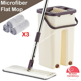 NEW Version Mini Self Cleaning N Drying Mop With Bucket 3 Absorbent Mop Head / Easy on back
