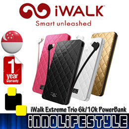 ★GSS Sales★ iWalk Extreme TRIO 10000mAh Ultra-Slim PowerBank. Built-in Cables. ★1 Year Warranty★