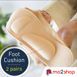 [ 2 Pairs ] Japan 3D Foot Cushion ***  ULTRA Soft 3D Socks *** Stocking Shoes Pad *** Quality Soft Cotton for Ultra Comfort *** Anti-slip with silicon patch at the heels
