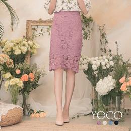 YOCO - High Waist Hollow Carved Lace Skirt-190200