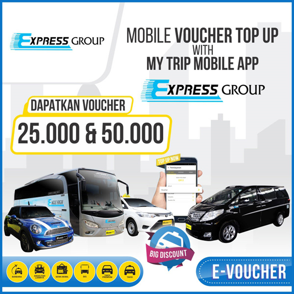 ?Voucher Taxi Express?Express Group My trip Voucher?Express Group Taxi Bus My trip Voucher? Deals for only Rp25.000 instead of Rp25.000