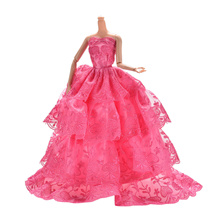 1 Pcs Handmade Embroidery Widding Rose Dress for 11 Barbies 4 Layers
