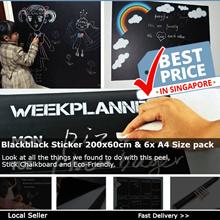 Blackblack Sticker 200x60cm  6x A4 Size pack Removable Blackboard Sticker Wall Chalkboard Marker
