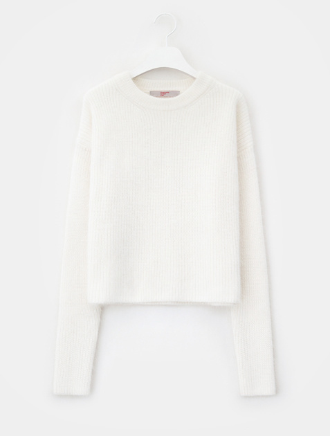 8SECONDS [CELEBs PICK] Angora Round Neck Knit Pullover - White