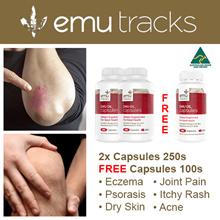[FREE 100s CAPSULES] 2x 250s Emu Tracks Emu Oil Omega Capsules. For Skin N Pain Conditions.