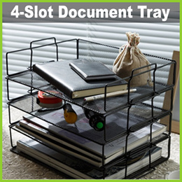 ★ 4-Slot Horizontal Document Tray ★ Home Office Organizer Stationery File Desk Drawer Holder