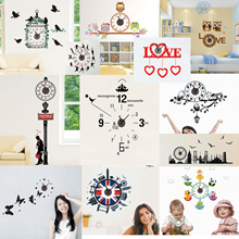 Buy 5 get 1 /The cheapest-Wall sticker+wall clock+clock silent- Quiet Sweep No Ticking Sound-Over ni