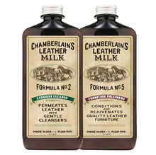CHAMBERLAINS LEATHER MILK CLEAN and CONDITION FURNITURE LEATHER CARE SET: NO. 2  NO. 5 - 6 oz set