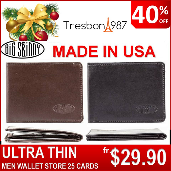 ?Christmas Gift Ideas Men Wallet Card Holder Travel Bag ETC USA BIG SKINNY WORLD THINNEST Holder Genuine Slim Thin Long Passport Coin Zip Money Clip Credit Pouch Case Deals for only S$99.9 instead of S$99.9