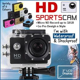 Sports Cam * Go Pro Design Style * 480P HD * 30M Waterproof * 170 Deg Wide-Angle * 2 Inch LCD *
