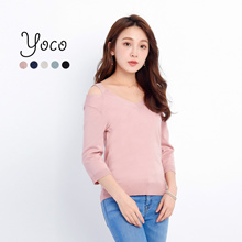 YOCO - Long Sleeved Knit Top with Ribboned Back-170845
