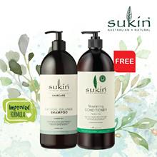 [Sukin Organic] Natural Balance Shampoo (1L) + FREE Nourishing Conditioner (1L)