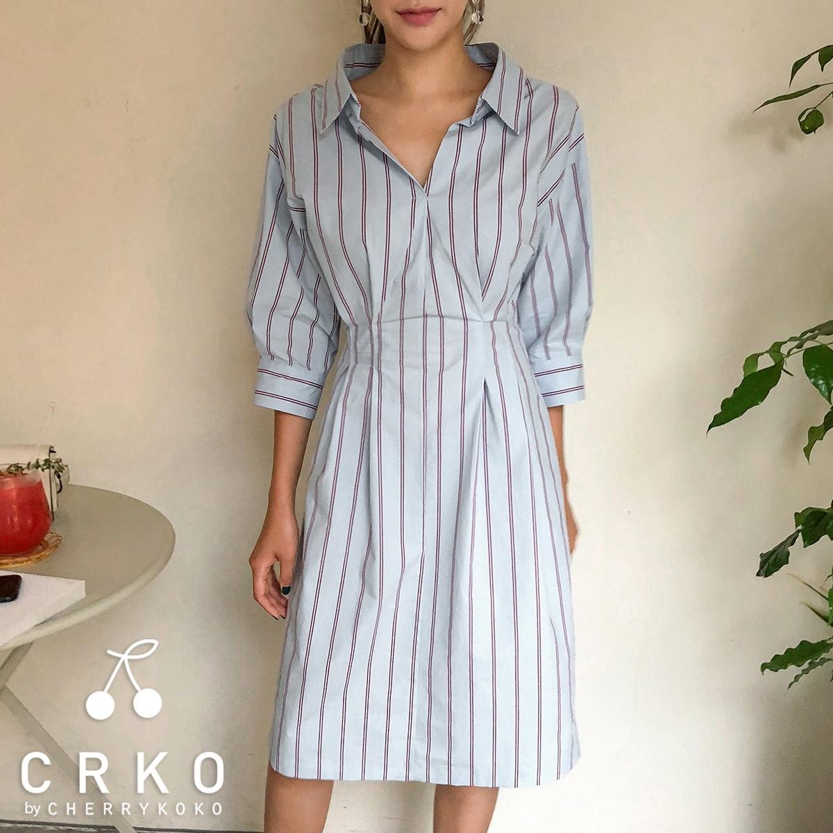 [CHERRYKOKO官方旗艦店] 條紋襯衫洋裝 / perfume mine ops