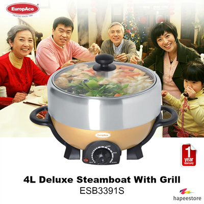 Europace 4L Deluxe Steamboat With Grill I ESB3391S I 4 Levels Adjustable Temperature