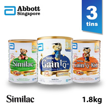 【Bundle of 3】Similac Gain Follow On/ Kid Stage 2/3/4  Milk Formula 1.8kg - For Singapore market
