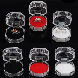 4pcs  Clear Acrylic Ring Earring Storage Display Case Organizer Jewelry Box