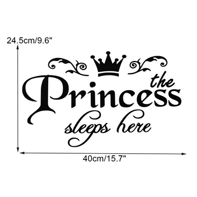 The Princess Sleeps Here Wall Stickers Vinyl Decal Removable Home Decor  Bedroom Durable Quality
