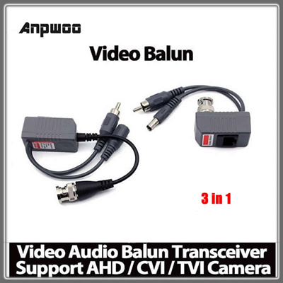 Anpwoo 3 in 1 CCTV Camera Video Balun Transceiver Connector BNC UTP RJ45  Video and Power over CAT5/5