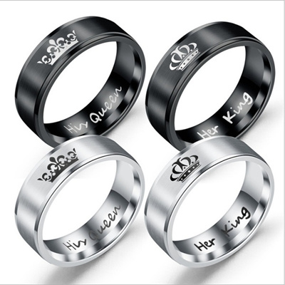 Qoo10 Stainless Steel Lovers Couple Ring His Queen Her King