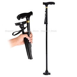 Ultralight Adjustable Folding T Handle Walking Cane / Stick with LED Light For Elderly Safety
