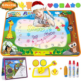 Year Old Book a BASGE Doodle Mat Magic Water Drawing Mat Large 32x24in Painting Pad in 4 Colors with 4 Water Pens and 6 Molds Best Kids Boys Girls Toddler Toys Gift for 2 3 4 5
