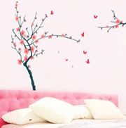 Plum and Butterflies Home Decoration Giant Wall Decals 130*200cm