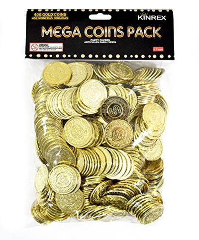 KINREX Plastic Gold Coins - Mega Novelty Pack - St  Patricks Coin - 400  Count - Great For Kids Todd
